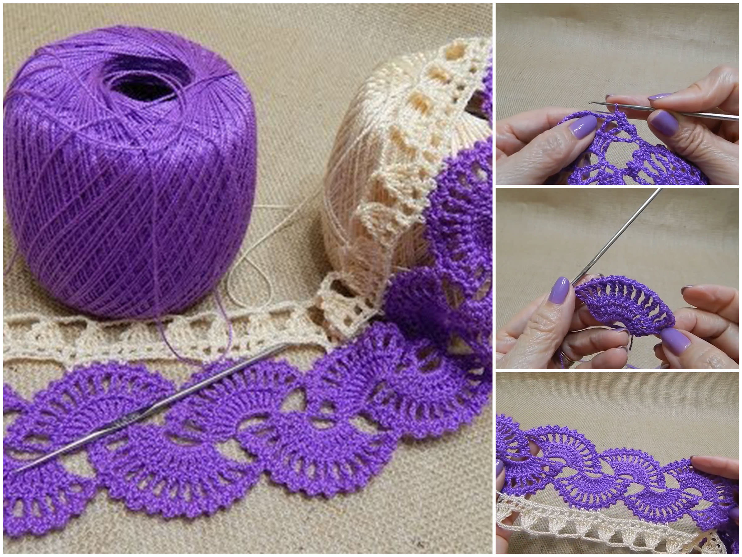Two Color Crochet Lace Border Pattern | Creatic
